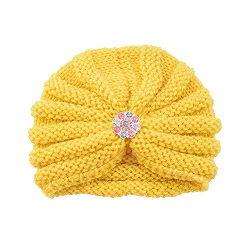 Longay Baby Toddler Girls Boys Infant Warm Winter Knit Beanie Hat Crochet Ski Ball Cap (Yellow)