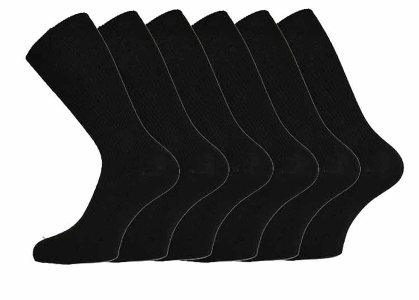 Mens 100% Cotton Non-Elastic Loose Wide Top Socks, Size 6-11 UK Black (12 Pairs)