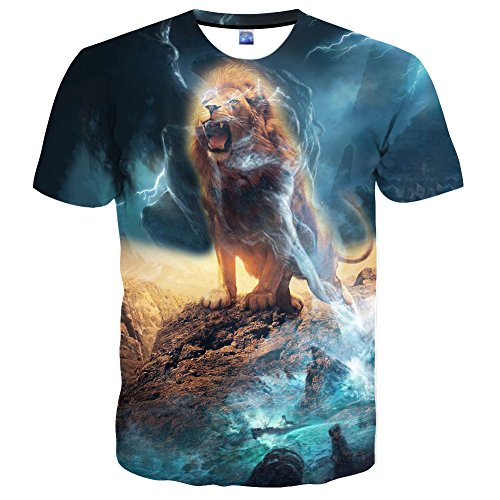 Hgvoetty Unisex Animal T Shirts 3D Lion Shirts for Men Women X-Large Light-Blue