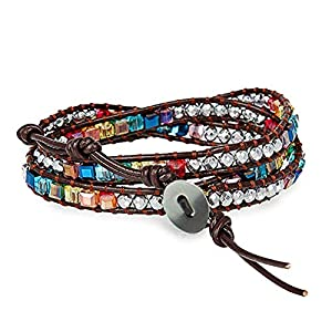Fashion Jewelry Colorful Multilayer Crystal Gemstone Bracelet for Women – Bangle Hand-knitted Knot String Rope Leather & Bead Wrap Accessories