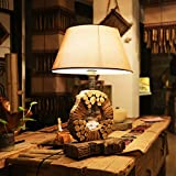 Retro Living Room Table Lamp Villa Study Solid Wood Bedroom Bedside Art Desk Lamp Light, 400X600Mm