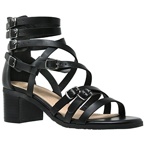 - Womens Dress Sandals Strappy Buckle Accent Block Low Heel Gladiators Black SZ 7