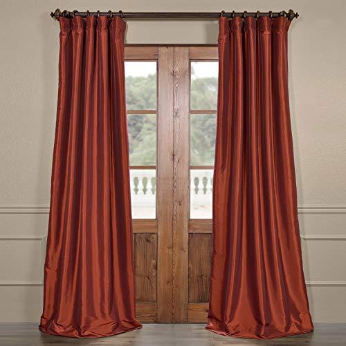 (Half Price Drapes PTCH-BO87-96 Blackout Faux Silk Taffeta Curtain, Paprika)