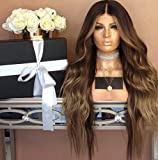 Vigour Beauty Ombre Wigs for Women Natural Long Wavy Heat Resistant Synthetic Brown Hair Wigs with Wig Cap 24inch