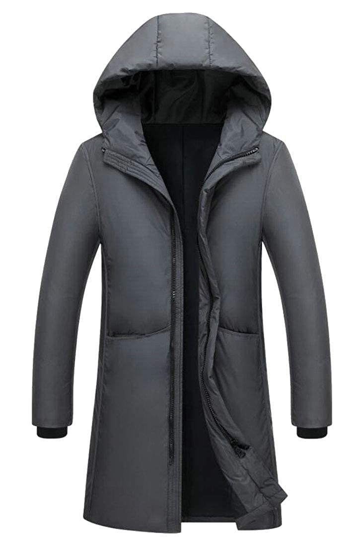 WSPLYSPJY Mens Mid Long Thicken Outdoor Hooded Jacket Down Coat