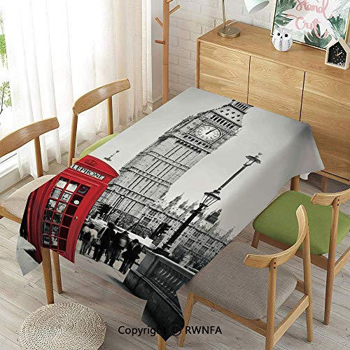 Homenon Wipe Clean Tablecloth for Rectangle Tables,Famous Telephone Booth and The Big Ben in England Street View Symbols of Town Retro Decorative,Waterproof Stain-Resistant,Red Grey,55