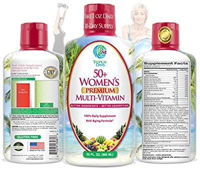 Tropical Oasis Women's 50+ Multivitamin, Superfood, & Herbal Blend - Anti-Aging Liquid Multivitamin for Women Over 50. 100+ Ingredients Promote Heart Health, Brain Health, & Bone Health* -1mo Supply