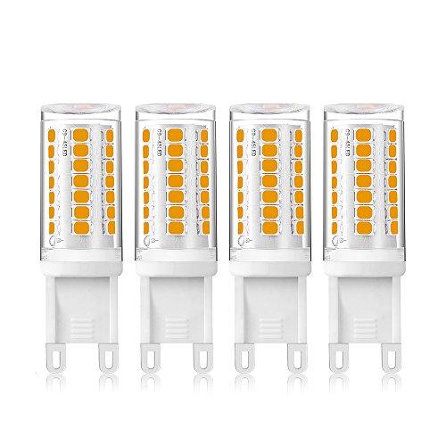 Bonlux 4W Dimmable LED G9 Light Bulb 120V T4 JD Type Ceramic Pendant Light Warm White 3000K 35W Halogen Replacement Bulb for Cabinet Light, Ceiling Light Fan, Landscape Lighting, No Flicker (Pack-4)