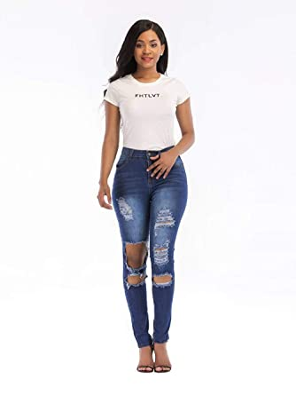 5a4121d6277 Masall Women Slim Fit Sexy Jeans Skinny Cute Ripped Girls Stretchy Straight  Jeans,Blue-