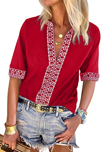- Women's Tops Boho Fashion Shirts Tops Summer Loose Short Sleeve V Neck Casual Blouse Red XXL
