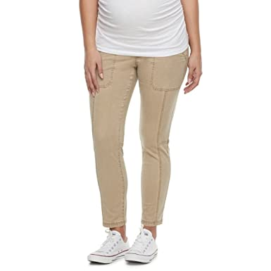 0b53644421c25 a:glow Maternity Belly Panel Slim-Fit Utility Capris at Amazon Women's  Clothing store: