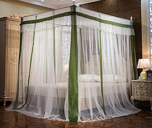 JQWUPUP Elegant Canopy Bed Curtains, Ruffle Princess 4 Corner Post Mosquito Net, Bed Canopy for Girls Kids Toddlers Crib, Bedding Décor (Full, Dark Green)