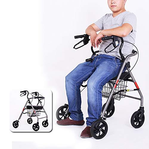 HYJ Andadores Ancianos Ligero y Plegable, el Caminante de Edad Avanzada Puede colocarse en muletas, Giratorio 360 °