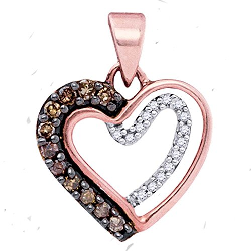 - Brown Diamond Heart Pendant 10k Rose Gold Love Band Fashion Style Chocolate Polished Fancy 1/5 Cttw