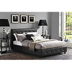 DHP Dakota Upholstered Faux Leather Platform Bed with Wooden Slat Support and Tufted Headboard and Footboard, Full Size - Black