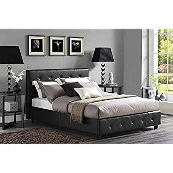 platform bed frame queen wood this item leather tufted upholstered includes headboard side rails amazon storage black