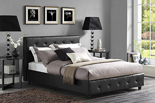 DHP Dakota Platform Bed with Tufted Upholstery in Faux Leather, Stylish Headboard, Includes Side Rails, Full Size, Black (Bedroom Contemporary Headboard)