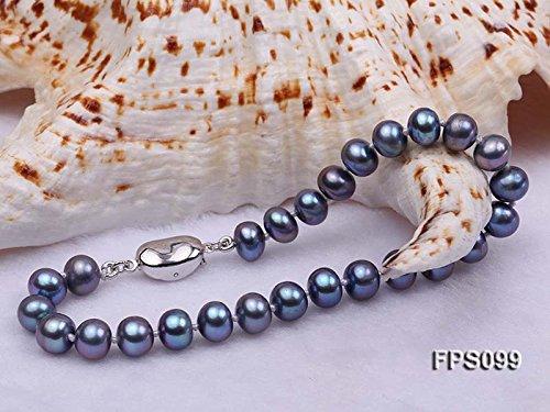 Bracelet Ensemble de bijoux de collier de perle JYX exquis 7.5-8.5mm noir plat rond collier de perles deau douce boucles doreilles Set