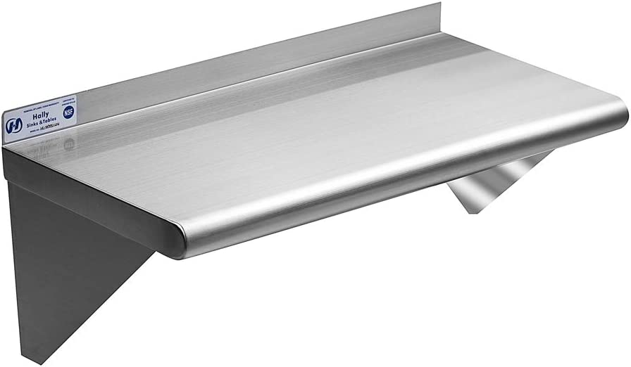 Commercial Stainless Steel Shelf 12 x 24 Inches, 230 lb, NSF Certificated Wall Mount Shelving for Home, Hotel and Restaurant