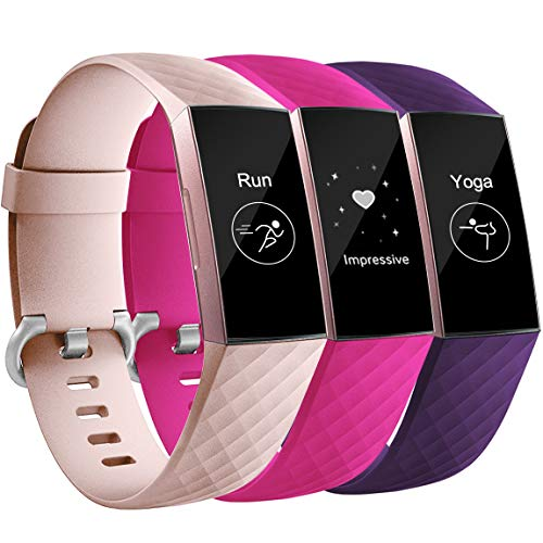 Maledan Bands Compatible with Fitbit Charge 3, Classic Accessory Sports Band Replacement for Fitbit Charge 3 and Charge 3 SE Fitness Activity Tracker, 3-Pack, Pink/Rose Pink/Plum, Small
