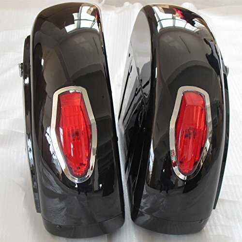 Motorcycle saddlebags Hard Saddle Bag Trunk w/ Light for Honda Shadow 600 750 VLX Valkyrie VT F VTX (Honda Shadow Bike)