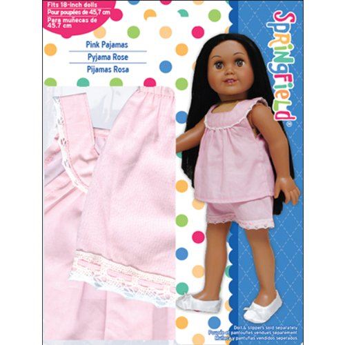 Springfield Collection by Fibre-Craft – Pink Pajamas with White Lace Trim – Fits All 18-Inch Dolls – Mix and Match! – For Ages 4 and Up