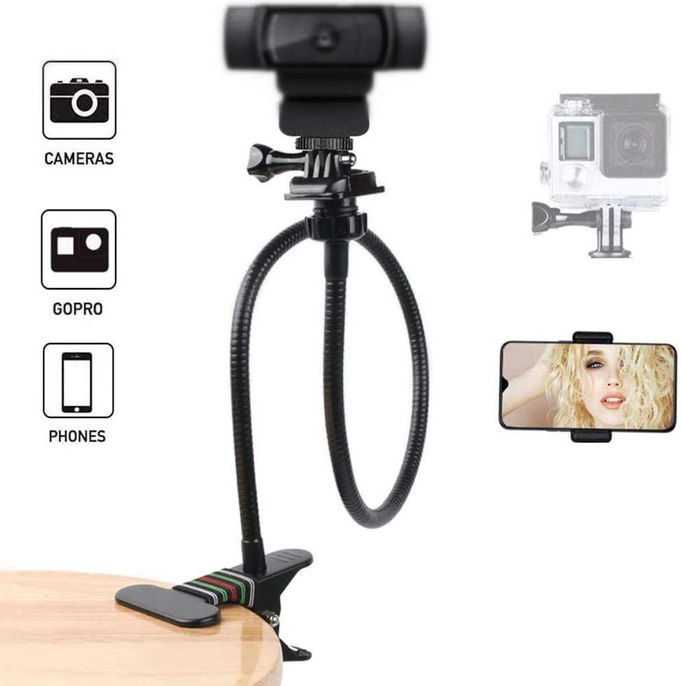26-Inch Desk Webcam Stand Camera Gooseneck Mount with Gopro Adapter and Universal Phone Clamp for Gopro Hero 8/7/6/5,Logitech C930e, C920, C922, C930, Brio 4K
