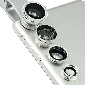 First2savvv JTSJ-4N1-A16 - Pack de lentes para Huawei Ascend G610 (ojo de pez, gran angular, macro y barlow), plateado