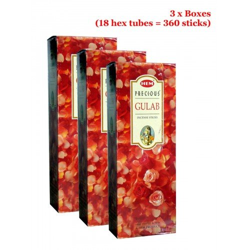 HEM Precious Gulab (Rose) Incense, 3 Boxes - (360 sticks bulk per (Gulab Incense)