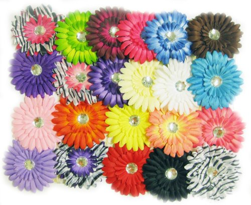 "Price comparison product image 22pc Assorted Value Pack 4"" Large Gerbera Daisy Flower Hair Clip Hair Accesso..."