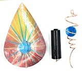 3D Orange Teardrop Blue Gem Ball Wind Spinner With Copper Tail Blue Gem Ball And Battery Motor