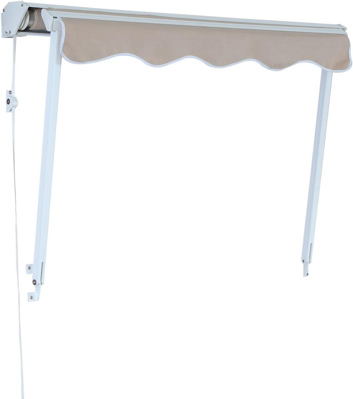 Grau/Beige 120x70cm Outsunny Fenstermarkise Sonnenschutz ...