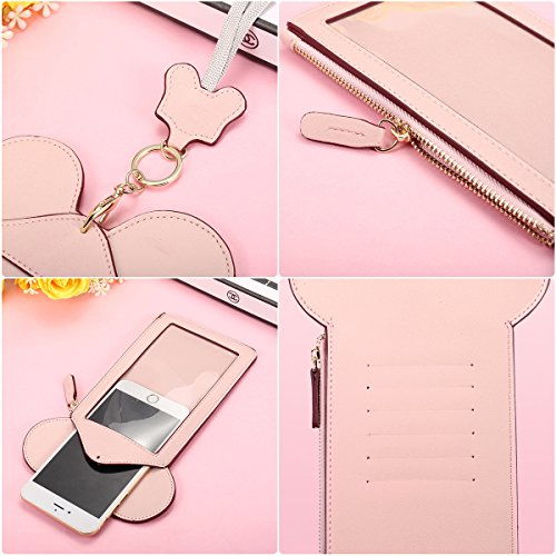 Neck Pouch, Charminer Women Cute Animal Shape Lanyard Phone Purse Neck Bag Travel Documents, Card Holder Coin Purse Neck Bag for 4.7/5.5in Phones Light Pink 4.7in by CHARMINER (Image #3)
