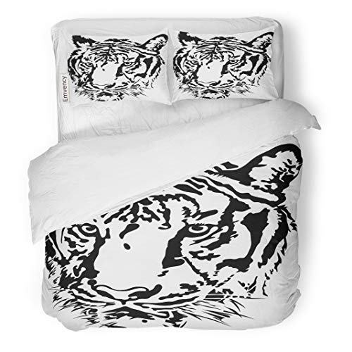 (Semtomn Decor Duvet Cover Set Twin Size Tattoo Tiger Head Silhouette Abstract Animals Bengal 3 Piece Brushed Microfiber Fabric Print Bedding Set Cover)