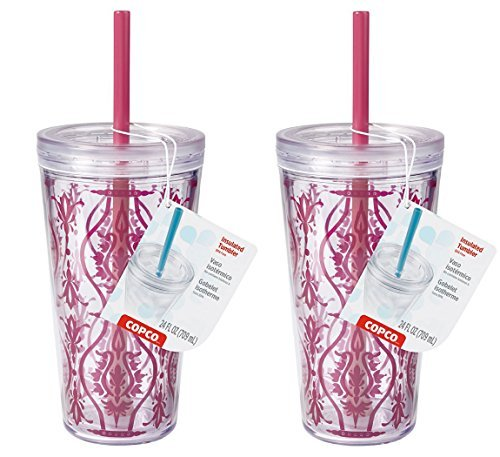 Copco Set of 2 Minmus Damask Red 24 Ounce Cold Tumblers