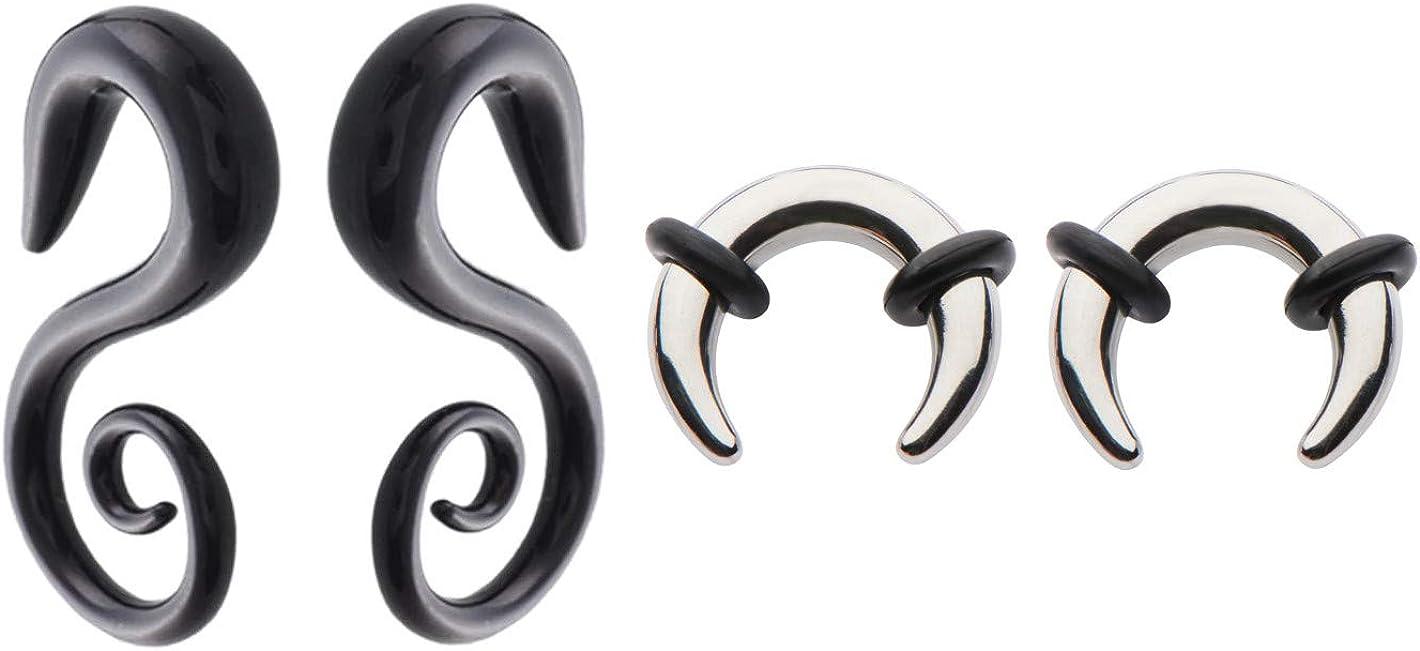 Zaya Body Jewelry 2 Pairs Steel Black Ear Plugs Tapers Hangers Pinchers Horseshoes Gauges 0g 2g 4g