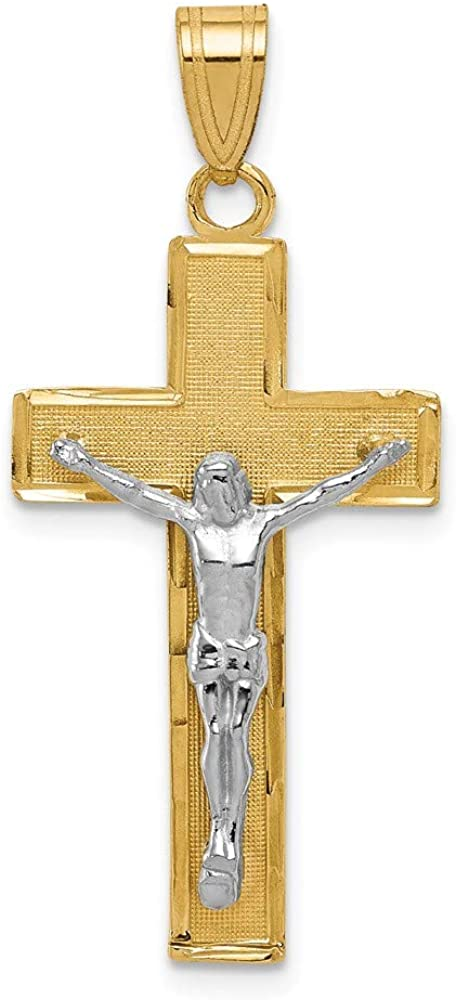 14k Yellow Gold Two-tone Gold Diamond-cut Crucifix Pendant