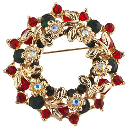 Lux Accessories Goldtone Green Red Crystal Floral Christmas Xmas Wreath Brooch