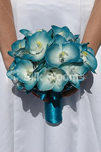 Turquoise Real Touch Orchid Artificial Bridal Wedding Bouquet Silk Blooms Ltd 7806