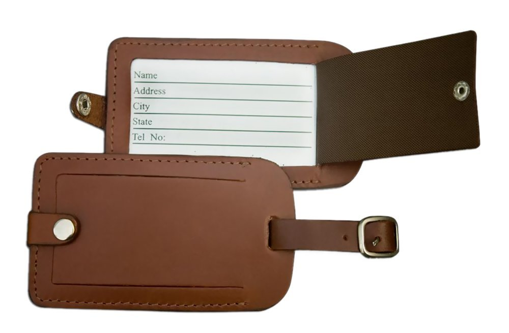 Office Business Travel Briefcase Suitcase Identification Rustic Brown Leather Luggage Tag electronic consumers