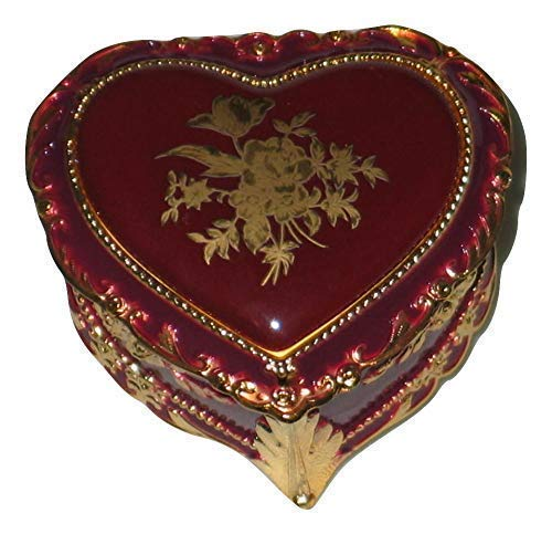 Burgundy & Gold Heart Shaped Musical Jewelry Box playing Waltz of the Flowers - Heart Style Music Box