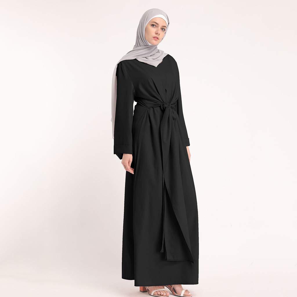 Muslim Dress Fashion Muslim Kaftan Women Soild Color Fake Two-Piece Sleeve Long Dress Middle East Long Maxi Dress Black by BingYELH Muslim (Image #2)
