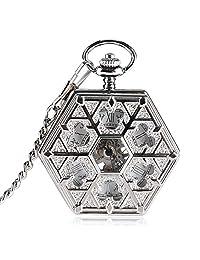 Trendy Pocket Watch, Hexagon Snowflake Pocket Watch for Men, Mechanical Hand Winding Pendant Pocket Watch Gift - JLYSHOP