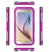 Galaxy S6 WaterProof Case Cover Febe Waterproof Shockproof Dust Sand Proof Cover Case For Samsung Galaxy S6 / S6 Edge Snowproof Cover Case [Full Sealed] Protective Water Resistant Case for Samsung Galaxy S6 Edge - Purple