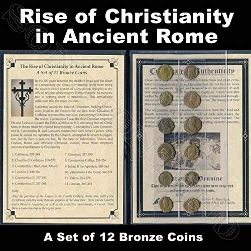 (RISE OF CHRISTIANITY IN ANCIENT ROME - A Set of 12 Bronze Biblical Roman Coins - Comes in Folder with Informational Sheet, Certificate of Authenticity & Identifier List - GREAT)