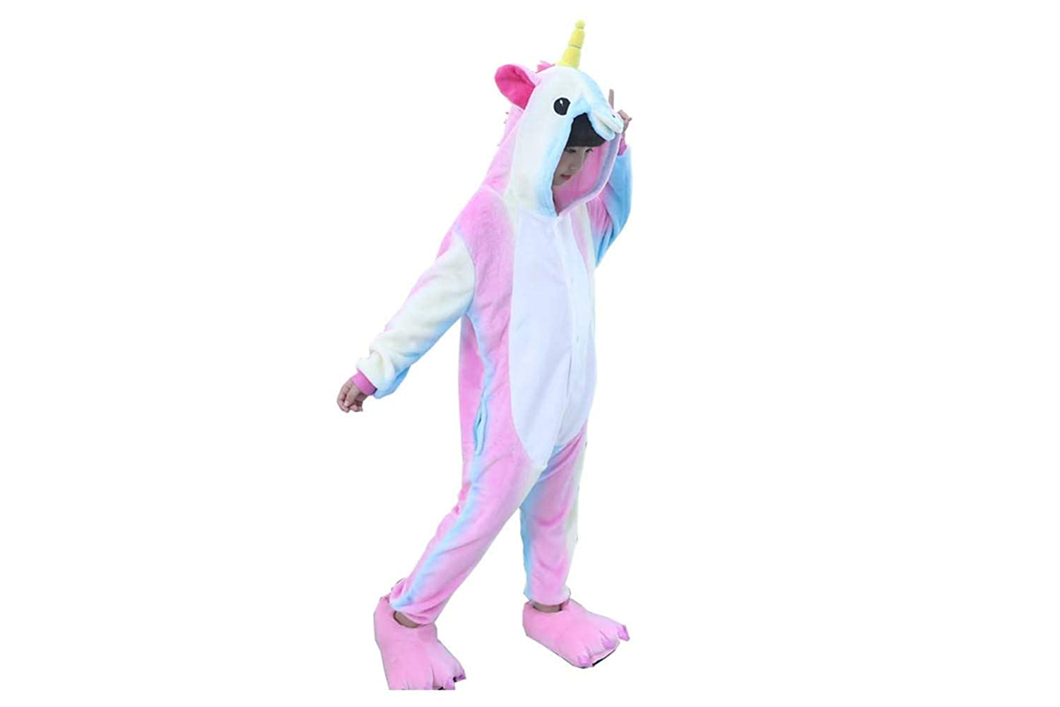 Licy Life Ragazzi Ragazze Pigiama Unicorno Tuta Costume Pigiama Carnevale Halloween Cosplay Party Animali Cartoon Regalo di Compleanno