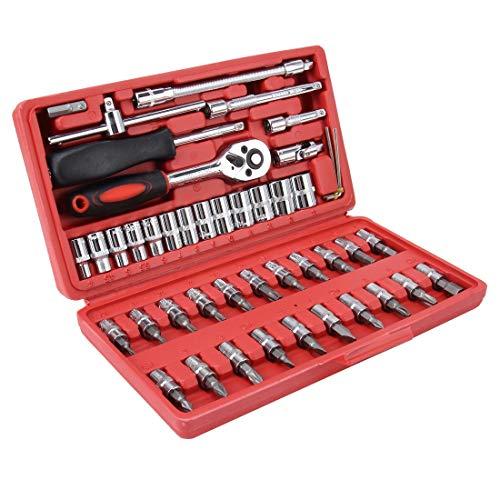 Hanks' winkel Moersleutel Combinatie Gereedschapsleutel Set 46 In 1 Auto Reparatie Tool Socket Sets