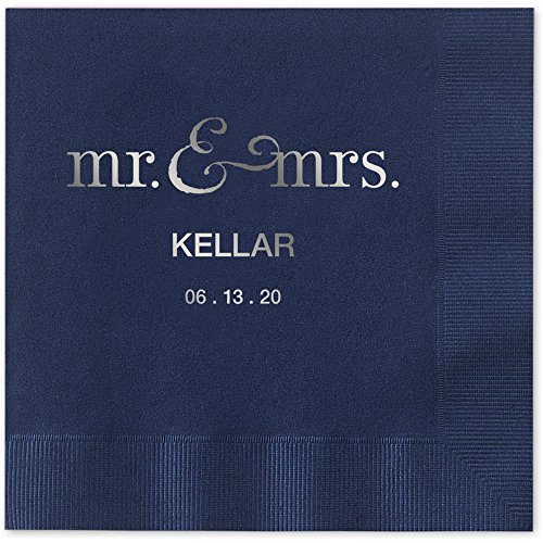 Mr and Mrs Personalized Beverage Cocktail Napkins - Canopy Street - 100 Custom Printed Navy Blue Paper Napkins with choice of foil stamp (5125B)