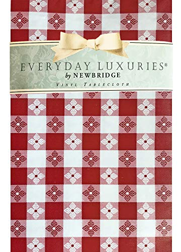 Newbridge Bistro Tavern Check Vinyl Flannel Backed Tablecloth - Cafe Checkered Indoor/Outdoor Vinyl Picnic, BBQ and Dining Tablecloth - 60