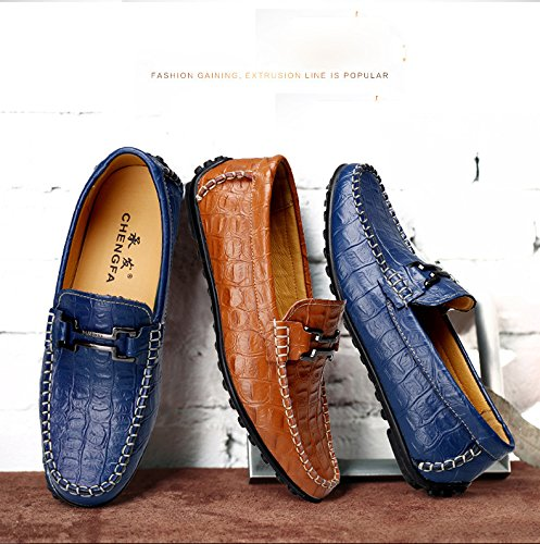 loafers casual leather moccasins shoes business buckle slip on driving faux mens formal deck office Brown Gaorui tOwS6q8x